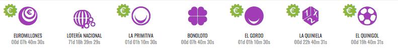 Menú de loterías en LottoHoy